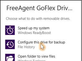Du kan bruke eksterne disker med File History.
