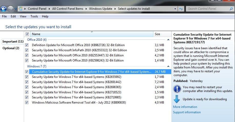 Nok en håndfull oppdateringer fra Microsoft.