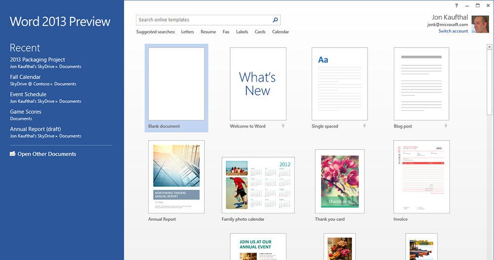 Startskjermen for nye Word