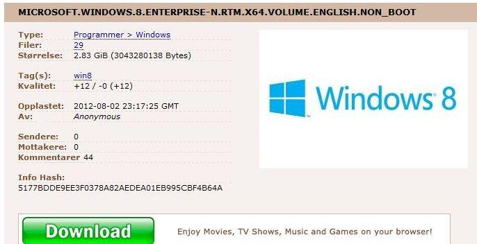 Slik ser det ut når Pirate Bay «selger» Windows 8.