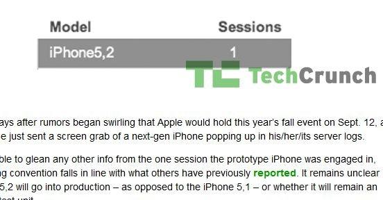 iPhone 5.2 blir nevnt i en serverblogg som Techcrunch har fått tilgang til. Er dette etterfølgeren til iPhone 5?