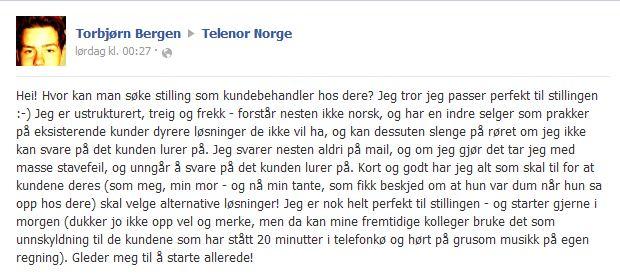 Med denne «jobbsøknaden» vil Torbjørn Bergen sette søkelys det han mener er dårlig oppførsel blant Telenors kundebehandlere.