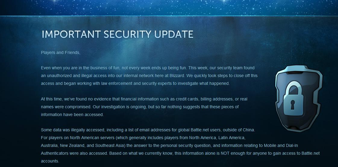 Ingen hyggelig melding fra Blizzard.