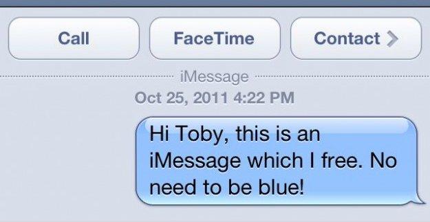 Tekst med blå bakgrunn betyr at du er trygg, sier Apple.