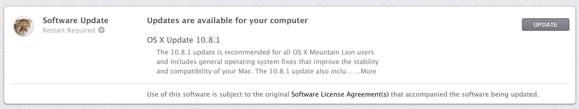 Oppdater Mac-en din til 10.8.1.
