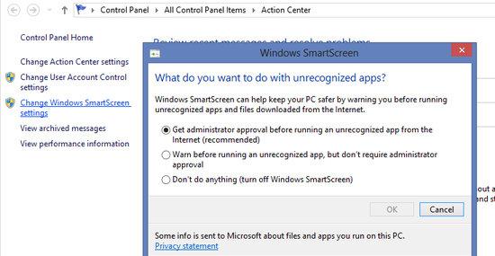 SmartScreen følger med på hva du installerer, og sender filinformasjon til Microsoft for å undersøke om programmet er kjent, og dermed sikkert å installere.