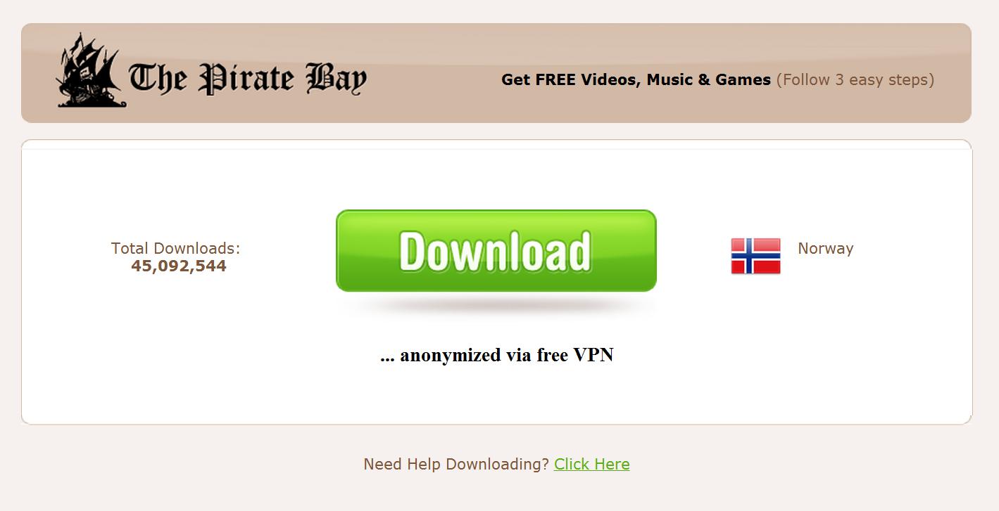 Gratis VPN til folket, støttet av TPB.