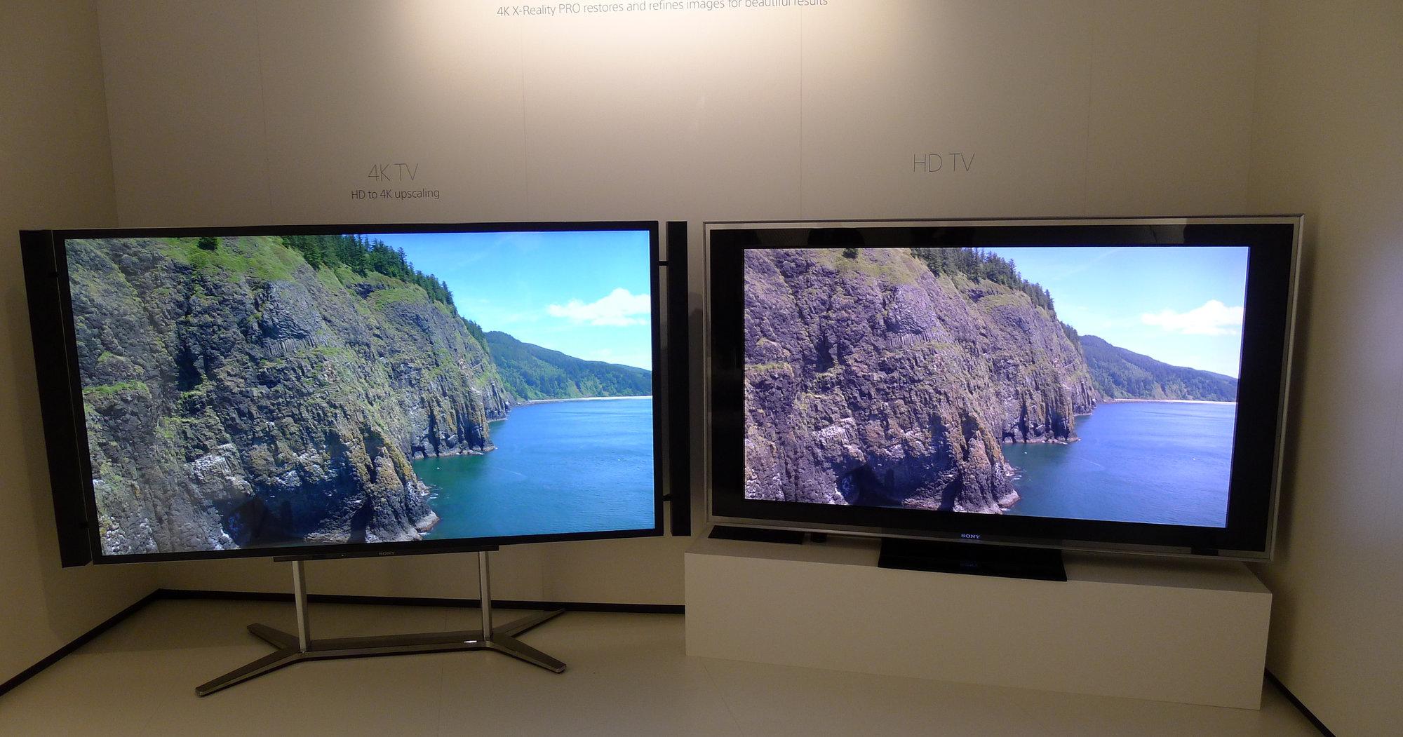 4K til venstre, standard TV til høyre. Vi så tydelig forskjell.