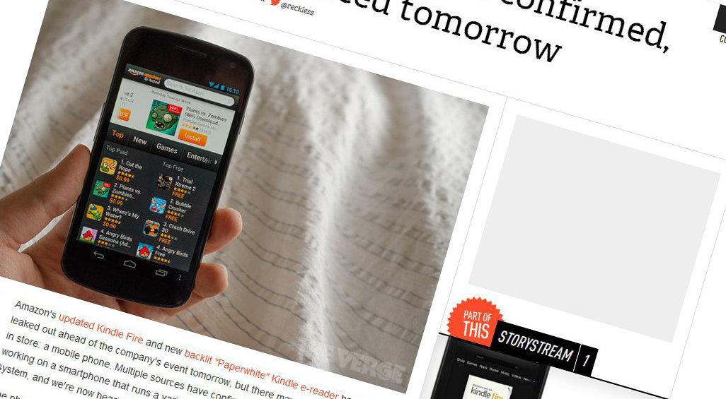 Nettstedet The Verge er skråsikre: Amazon vil presentere sin første Kindle-telefon i kveld. (Bildet er konstruert)