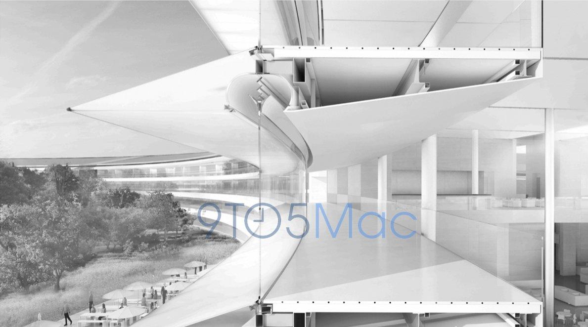 Dette er ett av flere bilder av Apples nye hovedkvarter som har tilflytt nettstedet 9To5Mac.com.