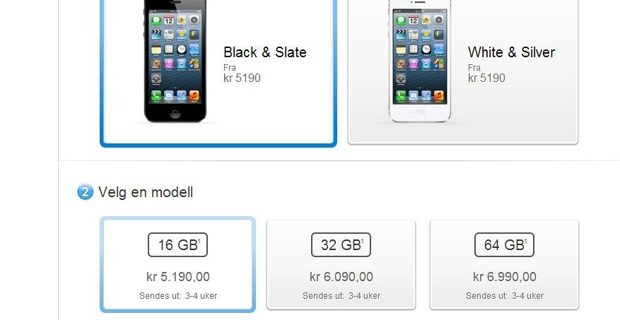 3-4 uker må man vente for å få sin iPhone 5 om man bestiller fra Apples norske nettbutikk. Trolig har både NetCom og Telenor eksemplarer igjen.
