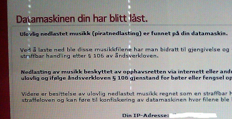 Datamaskinens filer har kanskje blitt låst, men hverken av TONO eller norsk Politi. Svindlerne truer med store bøter, og låser faktisk filene på maskinen om viruset har fått plantet seg i Windows.