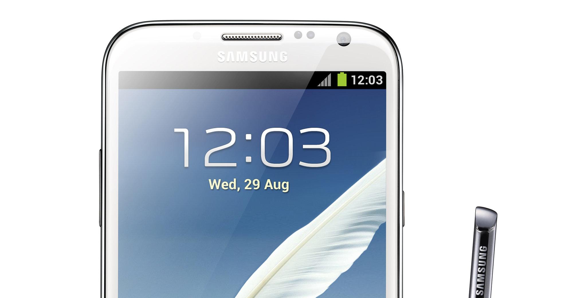 """Galaxy Note II har en 5.5"""" stor skjerm, og god ytelse. Pris: 5000 kroner."""