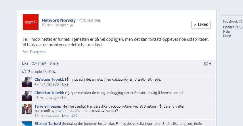 Network Norway varslet på sin Facebook-side at de største problemene er løst, men at man fremdeles kan oppleve ustabil tilkobling.