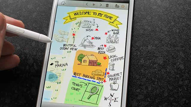 Samsung har lagt ved en del eksempler på fancy notater.