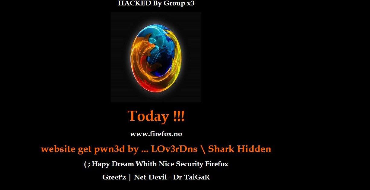 «Hacked by Group x3» står det på den norske Firefox-siden.