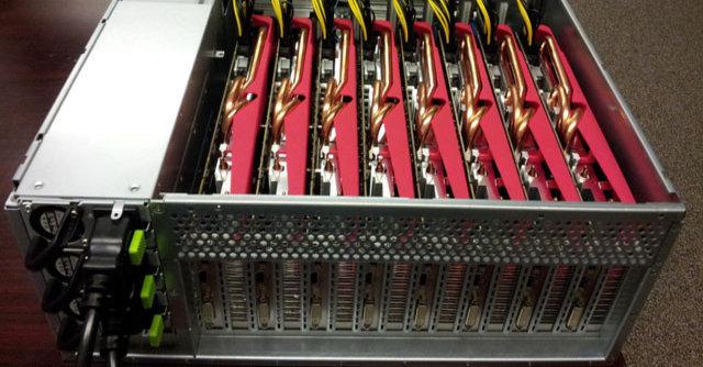 Et fem-servers-oppsett med åtte AMD Radeon-skjermkort i hver maskin bruker under 6 timer på å knekke Windows-passord.