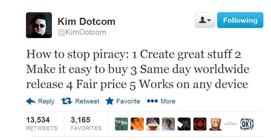 Mandag i forrige uke la Kim Dotcom ut denne meldingen på Twitter. Nå får han svar fra platebransjen.