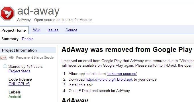 Ad-away er blant appene som nå er kastet ut fra Google Play.Årsaken er at Google ikke liker programvare som stopper annonsene deres.